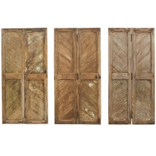 Hinged-Pairs of Carved Wood European Rustic Doors-Set of 3 For Sale