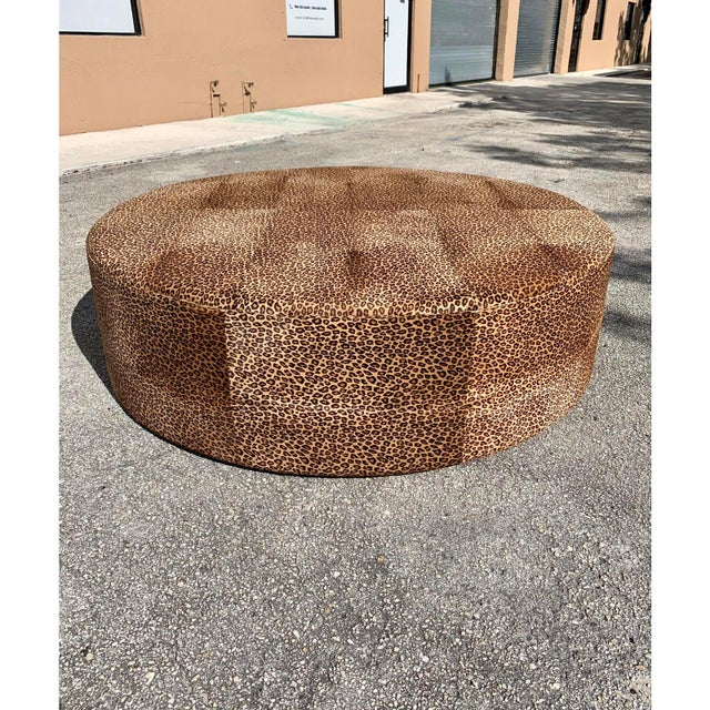 Wood Vintage French Leopard Leather Ottoman Coffee Table, 1910s For Sale - Image 7 of 13