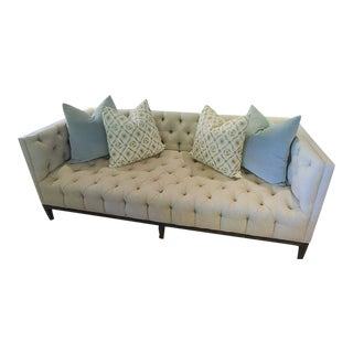 Modern Custom Made Tufted 7' Linen Tuxedo Sofa For Sale