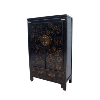 Oriental Hand Painted Dandelions Elm Cabinet For Sale