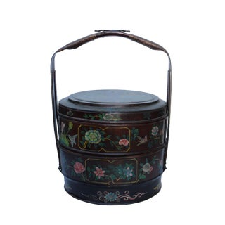 Multi Layer Chinese Vintage Round Shape People & Floral Art Bamboo Strip Wedding Basket For Sale
