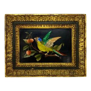 Antique Pietra Dura Plaque of Parrot With Cherries For Sale