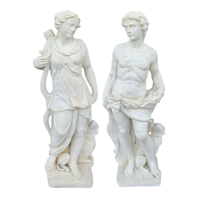 Pair of Vintage Cast Stone Statues of Apollo & Diana For Sale