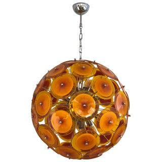 Alberto Donà Contemporary Nickel Brown, Orange, Yellow Murano Glass Chandelier For Sale