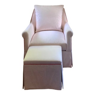Custom Pink & White Stripe Chair & Ottoman For Sale