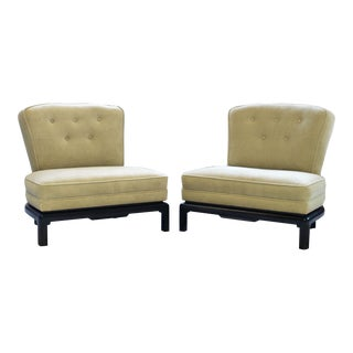 Pair of Michael Taylor for Baker Style Lounge Slipper Chairs For Sale