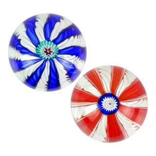 Toso Murano Blue Red White Millefiori Flower Italian Art Glass Paperweights - a Pair For Sale