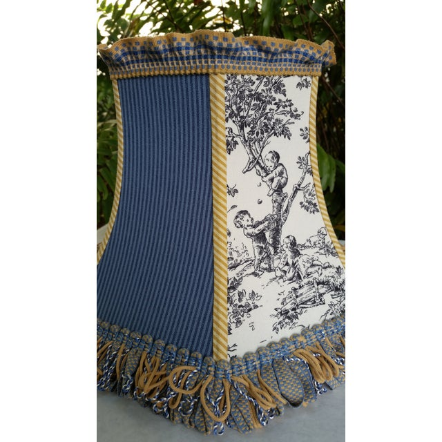 Toile Lampshade Blue Ticking Mustard Stripe Trim For Sale In West Palm - Image 6 of 10