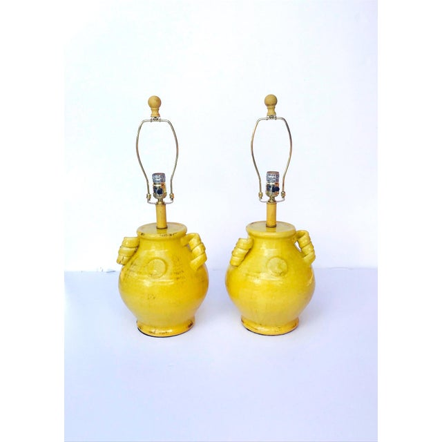 Pair of Elegant Chinese Pottery Lamps in Antique Yellow Glaze For Sale - Image 11 of 12