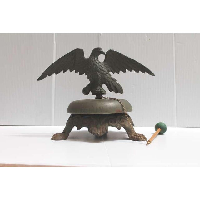 Bronze 19th Century Large Bell on Iron Base with Bronze Eagle on Top For Sale - Image 7 of 8