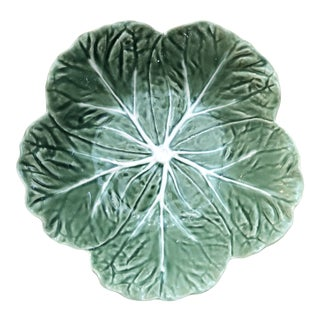 1950s Majolica Cabbage Leaf Bowl by Bordallo Pinhiero Portugal For Sale
