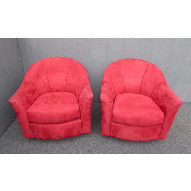 Vintage Mid Century Modern Milo Baughman Style Red Swivel Chairs Gorgeous Chair in Great Vintage Condition. Solid and...