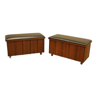 Lane Mid Century Modern Walnut Pair Storage Benches For Sale