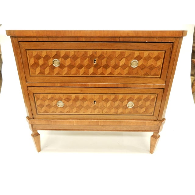 Brown Italian 19th C Parquet Commode For Sale - Image 8 of 8