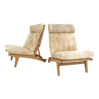 C. 1969 Hans Wegner for Ap Stolen Ap71 Lounge Chairs Restored in Brazilian Cowhide - Pair