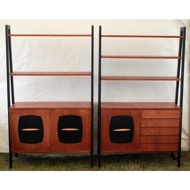 1950's Danish Modern Teak Etagere Cabinets - Pair - Image 2 of 11
