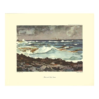 "Winslow Homer Shore and Surf, Nassau 15"" X 18.5"" Poster 1947 Contemporary Brown, Blue, Gray Nature, Water, Rocks, Waves For Sale"