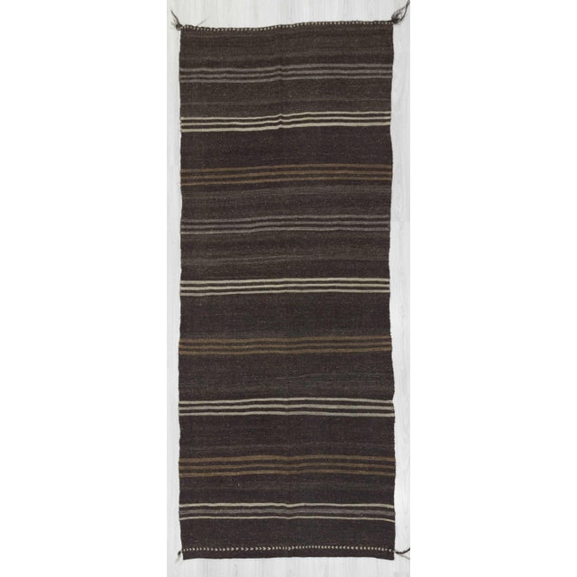 "Vintage Striped Natural Kilim Rug - 4'11"" x 12'4"" For Sale In Los Angeles - Image 6 of 6"