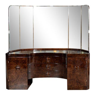 Glamorous Art Deco Vanity in Bookmatched Walnut with Wrap Around Beveled Mirror For Sale