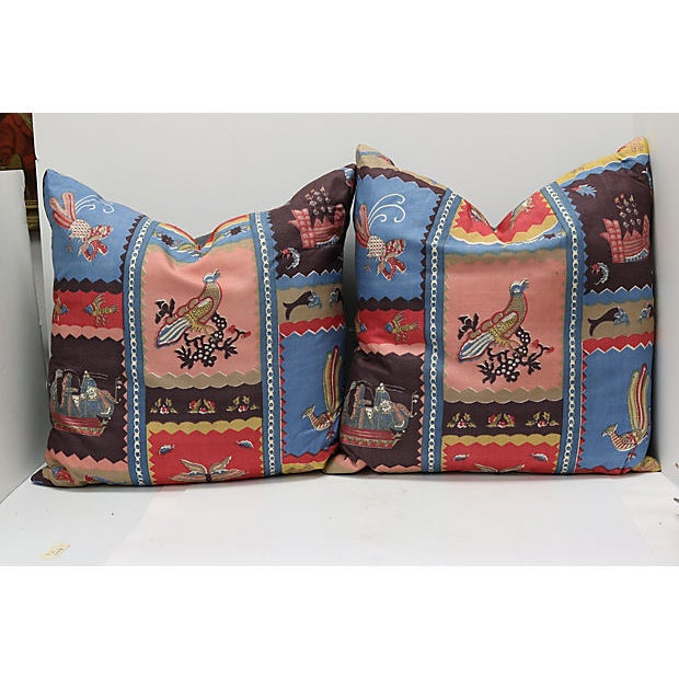 Aesthetic Movement 1920s Hand Blocked Silk Pillows - a Pair For Sale - Image 3 of 3