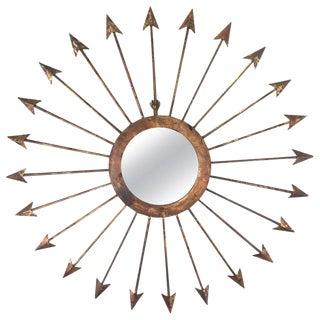 Gilt Iron Arrow Starburst Mirror For Sale