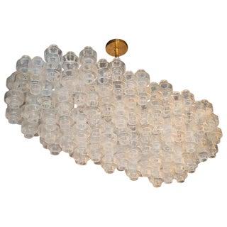 Modernist Custom Oblong Barbell Chandelier in Opalescent Hand Blown Murano Glass For Sale