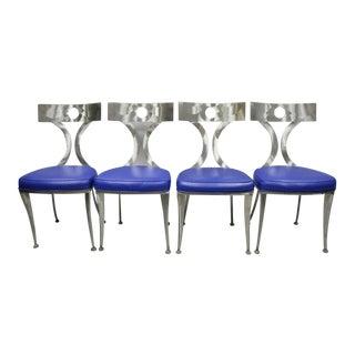 Modern Shaver Howard Brushed Steel Metal Modernist Dining Chairs- Set of 4 For Sale