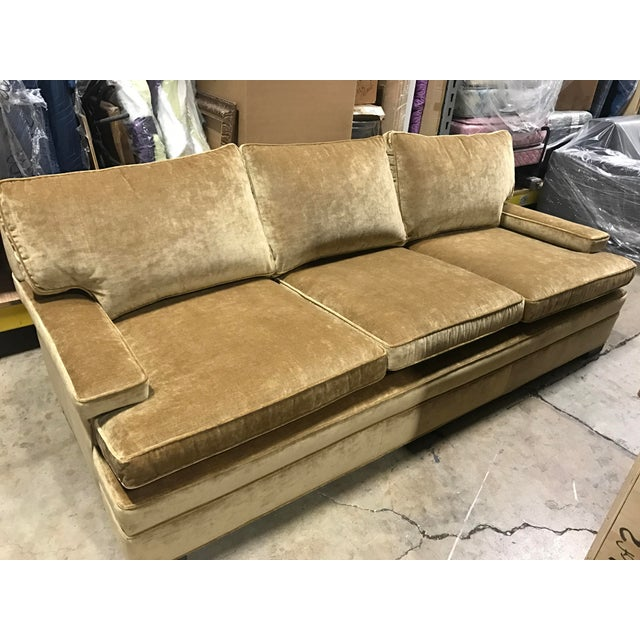Brand new Lee Industries sofa upholstered in Robert Allen caramel colored lustre velvet fabric. Made in the 2010s.