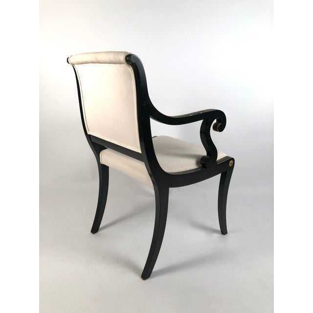 Regency Style Ebonized and Parcel Gilt Armchair For Sale In Boston - Image 6 of 12