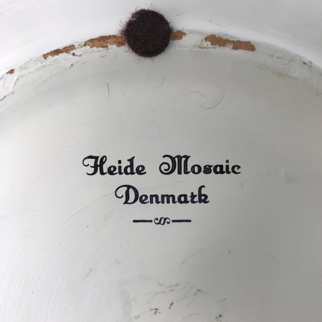 Mid-Century Danish Mosaic Plate With Leaping Reindeer Deer or Stag by Signed Heide of Denmark - Image 7 of 7