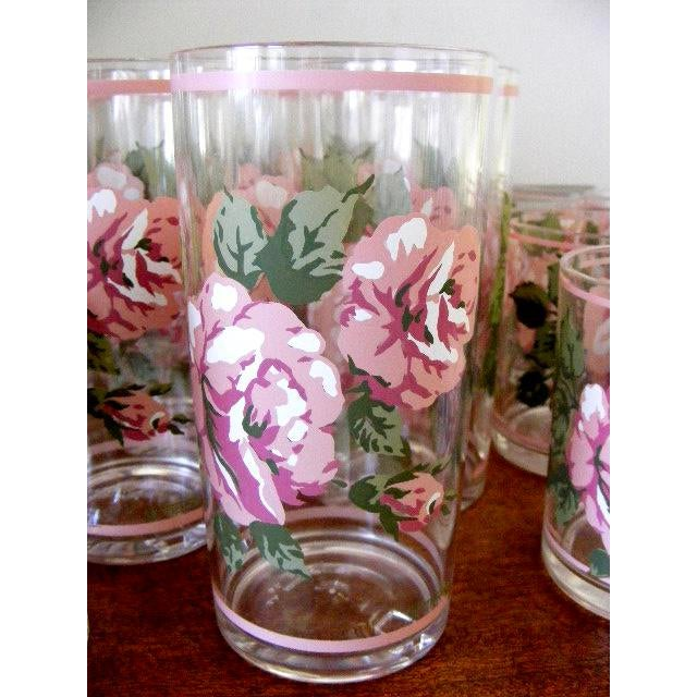 Cottage H. J. Stotter Plastic Tall Drinking & Tumbler Glasses With Roses - Set of 16 For Sale - Image 3 of 6