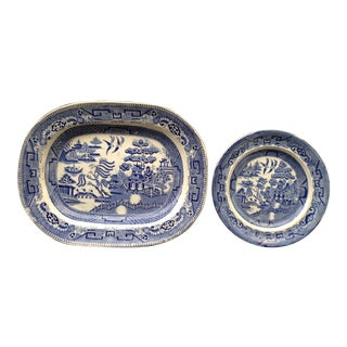 Mid 19th Century Blue Willow Platter & Plate - Set of 2 For Sale