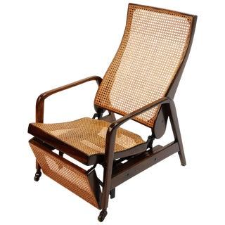 Reclining Chair in Brazilian Jacaranda Rosewood and Cane, Brazil, Circa 1940 For Sale
