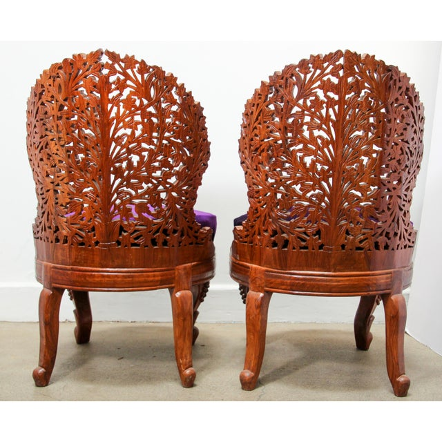 Mid 20th Century Anglo-Raj Carved Wood Side Lounge Chairs - a Pair For Sale - Image 5 of 13