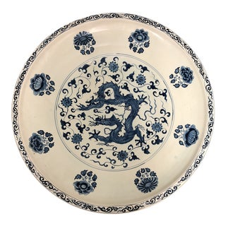 Ming Dynasty Style Decorative Dragon Platter For Sale