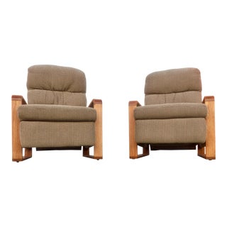 Pair of Swedish Modern Maple Recliner Armchair For Sale