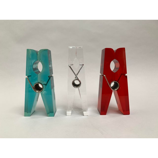 Oversized Teal Lucite Clothespin Paperweight or Paper Holder For Sale - Image 12 of 13