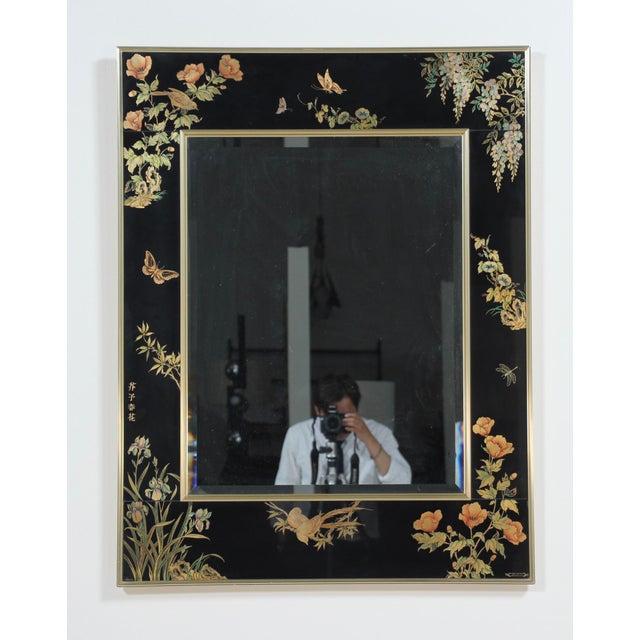 Black 1980s Vintage LaBarge Reverse Painted Mirror For Sale - Image 8 of 8