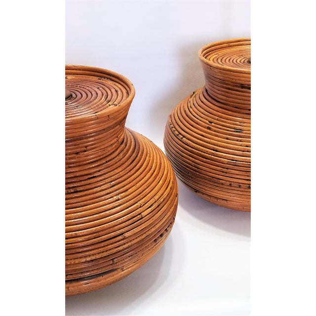 Gabriella Crespi Style Large Pencil Reed Table Lamps - a Pair - Restored - Mid Century Modern Palm Beach Boho Chic Wicker Rattan Seagrass For Sale In Miami - Image 6 of 13