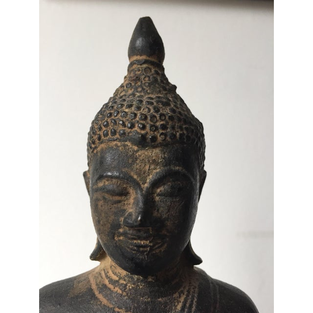Iron Vintage Iron Seated Buddha Sculpture For Sale - Image 7 of 11