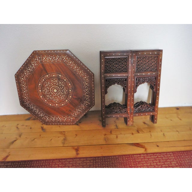 Bone Arabic Style Carved and Inlayed Table For Sale - Image 7 of 9