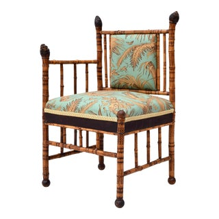 British Colonial Tortoise Bamboo Corner Chair For Sale
