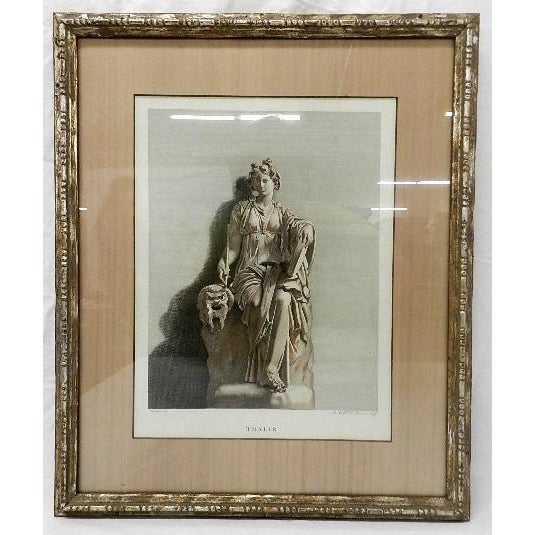 A lovely vintage framed print of Thalie. The print is matted with silk and under protective glass with a silvery...