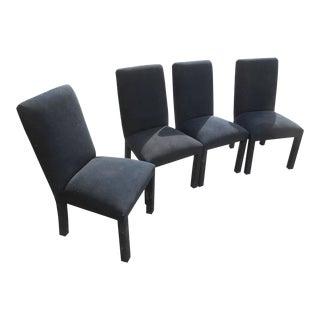 1970s Mid-Century Modern Black Velvet Parsons Dining Chairs - Set of 4 For Sale