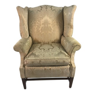 1980s Traditional Taupe Wingback Chair