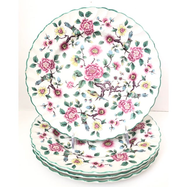 Old Foley Chinese Rose Staffordshire Dinner Plates - Set of 4 For Sale In San Francisco - Image 6 of 6