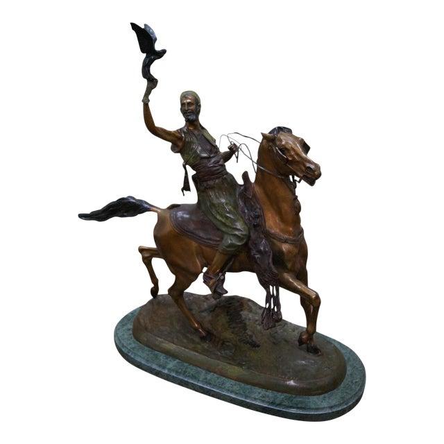 Pj Mene Large Bronze Sculpture Man Riding Horse For Sale