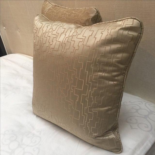 Modern Geometric Satin Pillows- A Pair - Image 4 of 6