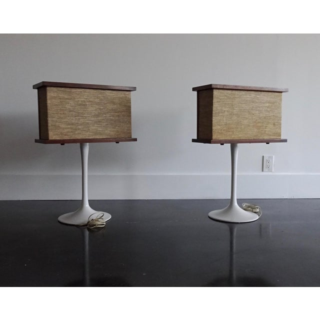 Mid-Century Modern 1970s Vintage Bose Speakers on Pedestal Tulip Bases - a Pair For Sale - Image 3 of 12