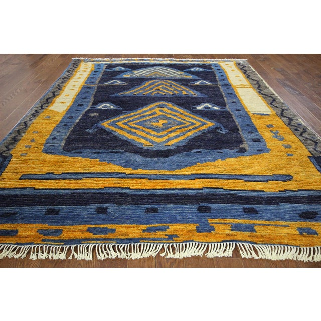 "Blue Wool Tullu Hand Knotted Rug - 7' 10"" X 10' 3"" - Image 2 of 10"